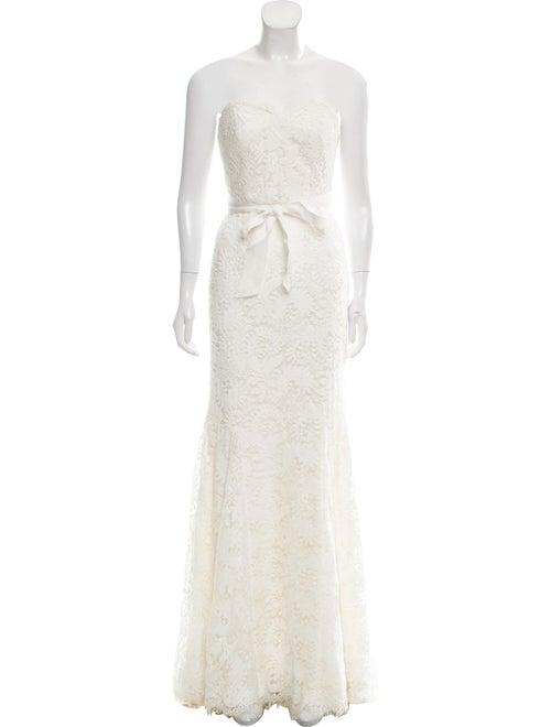 Theia Lace Pattern Long Dress White