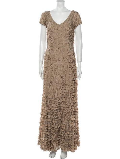 Theia Lace Pattern Long Dress