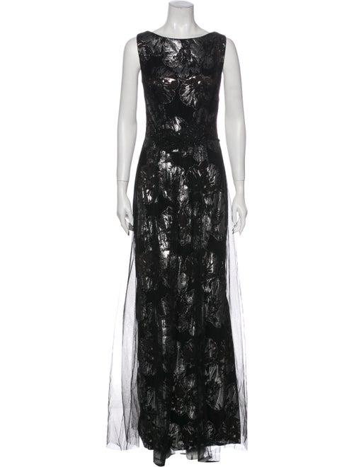 Theia Floral Print Long Dress Black