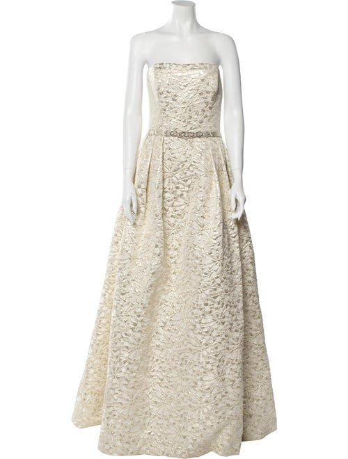 Theia Strapless Long Dress Gold