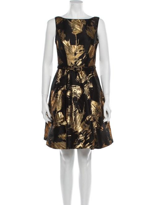 Theia Printed Mini Dress Black