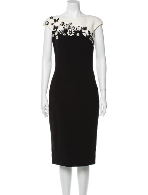Theia Colorblock Pattern Midi Length Dress Black