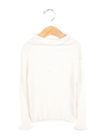 Tartine et Chocolat Girls' Embellished Rib Knit Sweater None