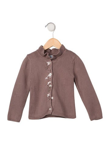 Tartine et Chocolat Girls' Embellished Rib Knit Cardigan None