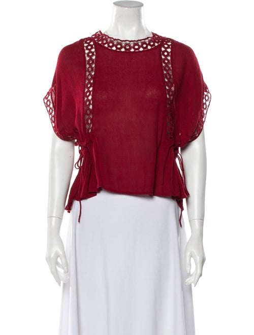 Tularosa Lace Pattern Crew Neck Blouse Red