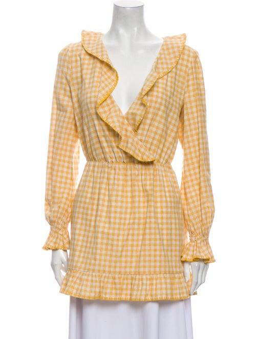 Tularosa Plaid Print Mini Dress Yellow