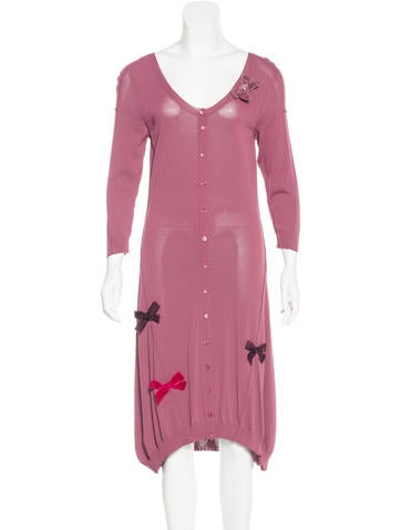 Twin.Set Bow-Accented Long Sleeve Dress None