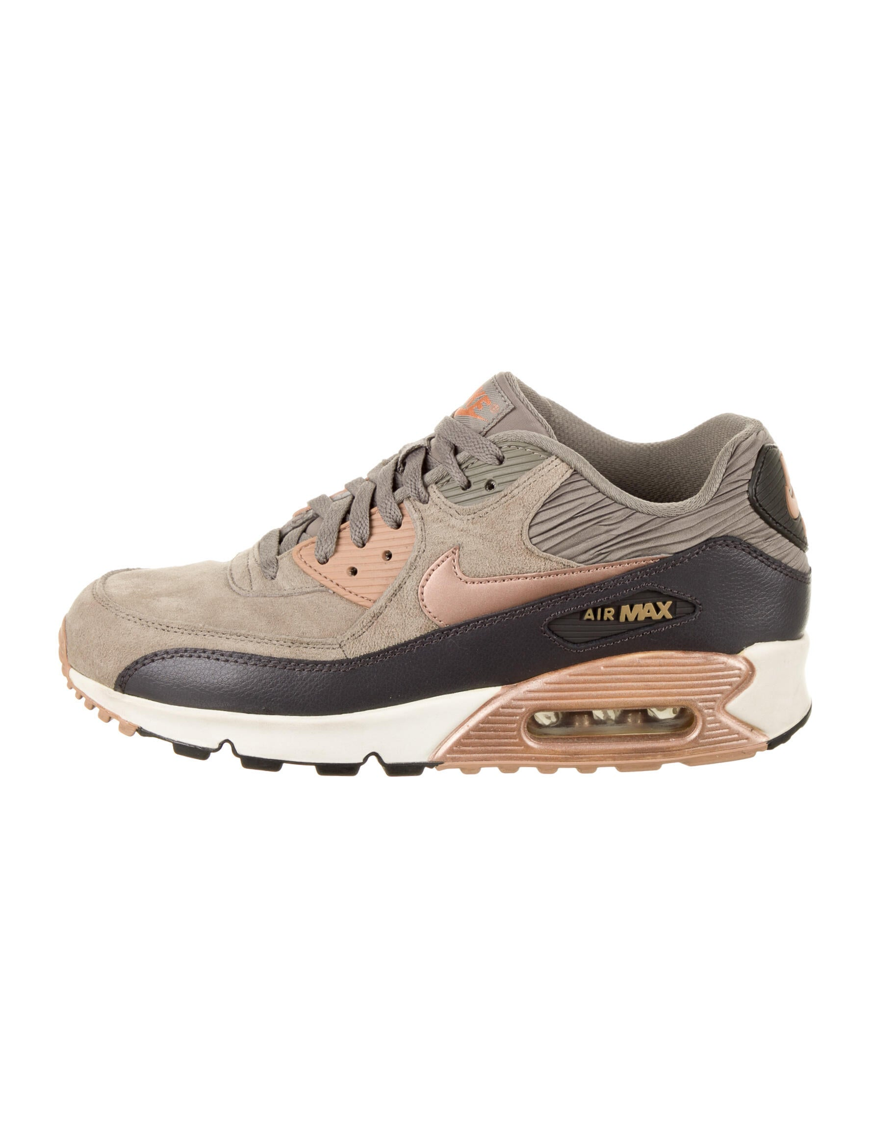 Nike Air Max 90 Leather 'Iron Metallic' Sneakers - Shoes ...