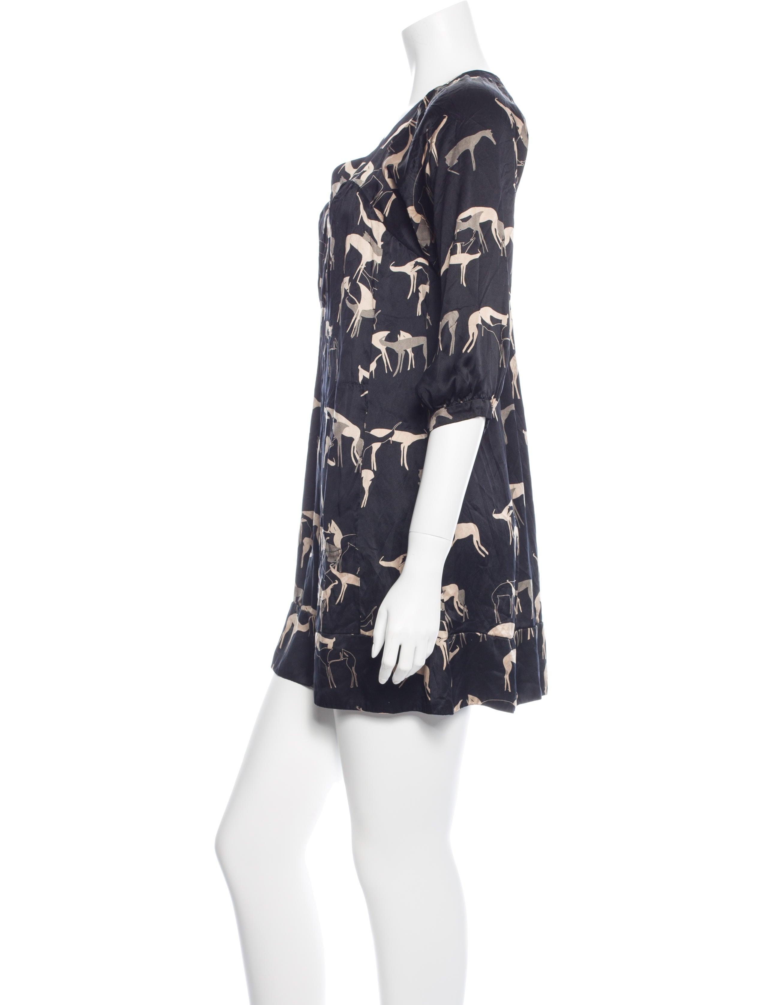 ulla johnson silk deer print dress clothing wul20952 the