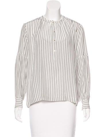 Ulla Johnson Silk Striped Blouse None