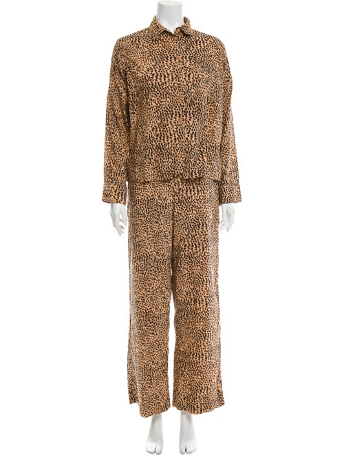 Ulla Johnson Animal Print Pajamas Brown