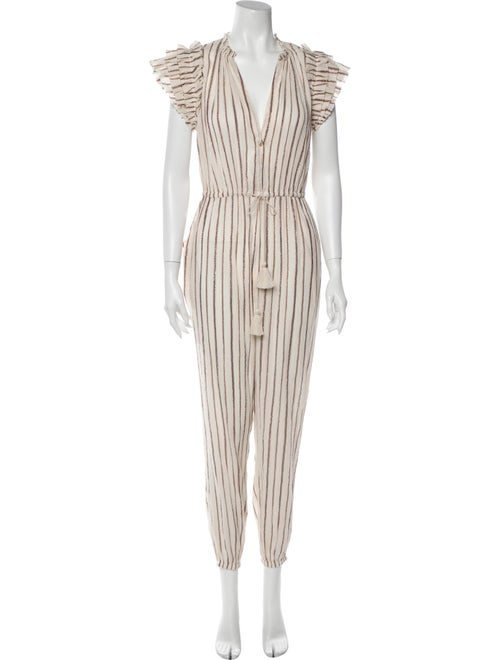 Ulla Johnson Elio Striped Jumpsuit Metallic