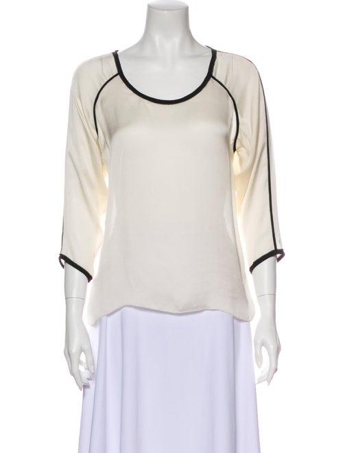 Ulla Johnson Silk Scoop Neck Blouse White
