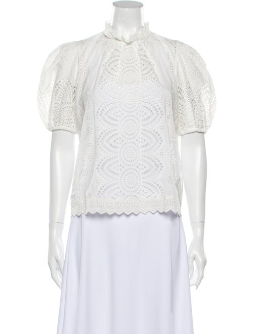 Ulla Johnson Lace Pattern Mock Neck Blouse White - image 1