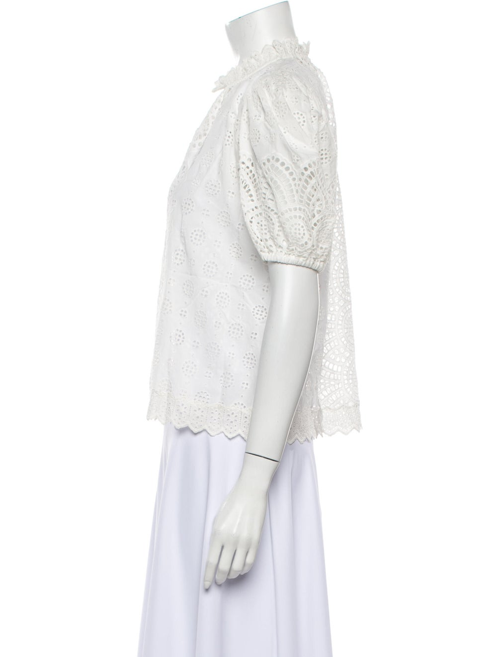 Ulla Johnson Lace Pattern Mock Neck Blouse White - image 2