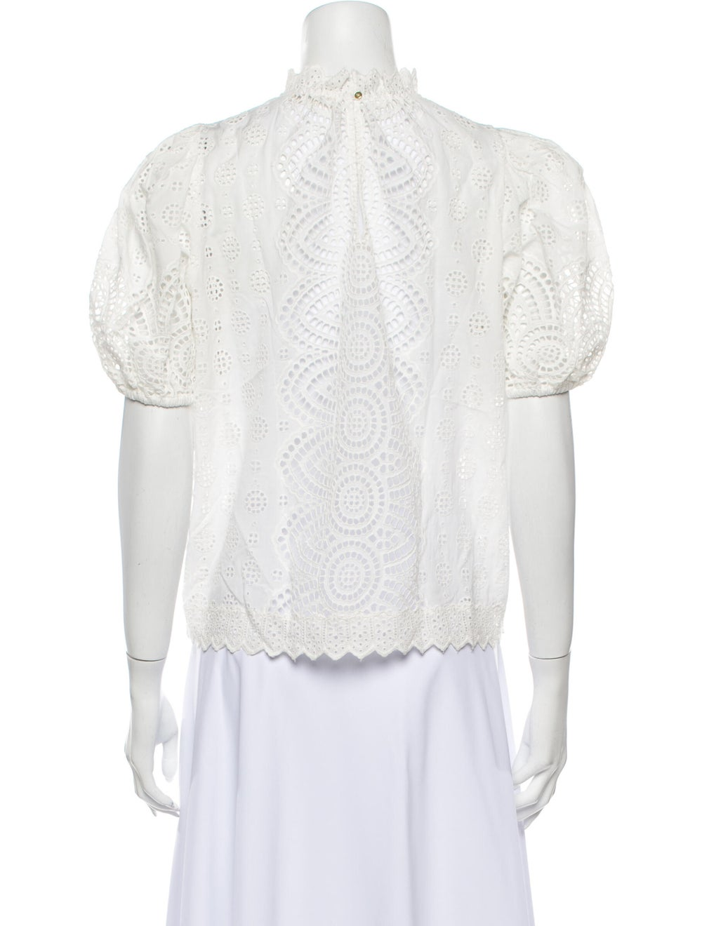 Ulla Johnson Lace Pattern Mock Neck Blouse White - image 3