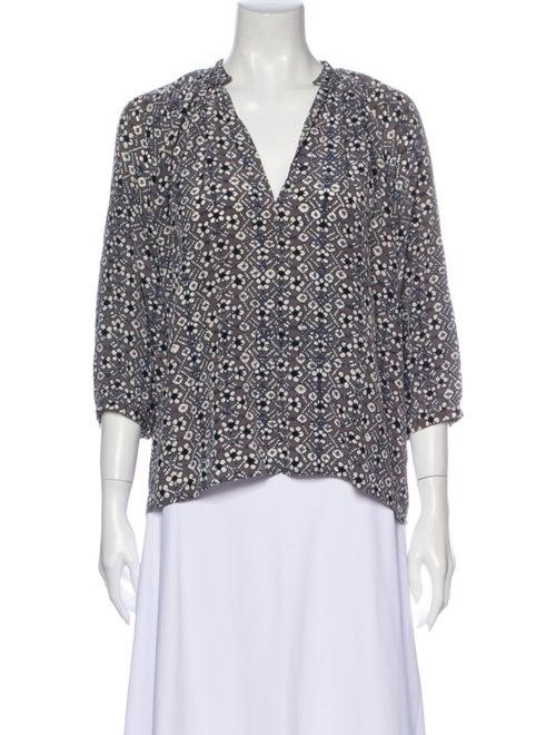 Ulla Johnson Silk Printed Blouse Grey