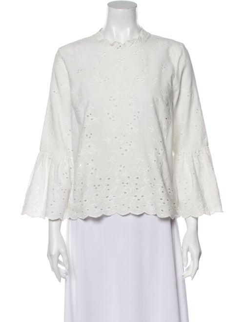 Ulla Johnson Lace Pattern Mock Neck Blouse White - image 1