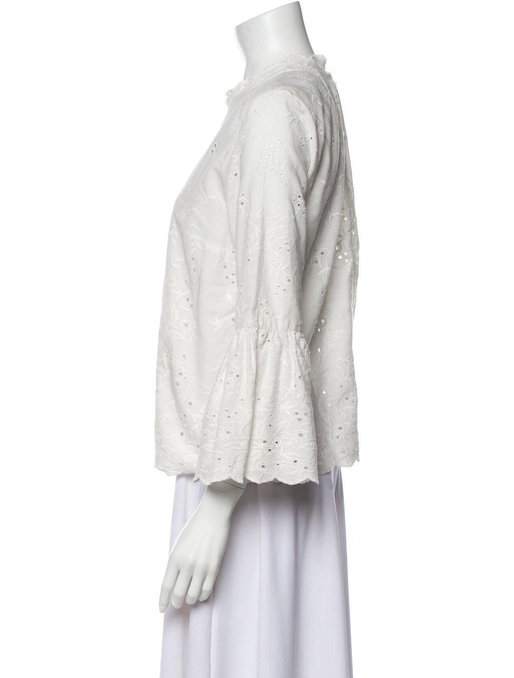 Ulla Johnson Lace Pattern Mock Neck Blouse White - image 2