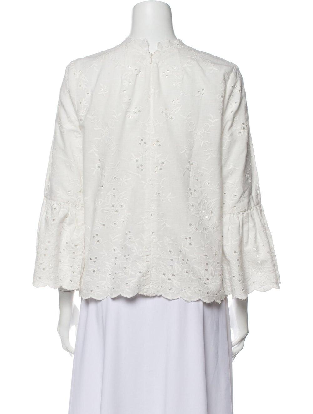 Ulla Johnson Lace Pattern Mock Neck Blouse White - image 3