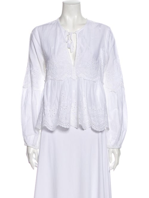 Ulla Johnson Lace Pattern V-Neck Blouse White