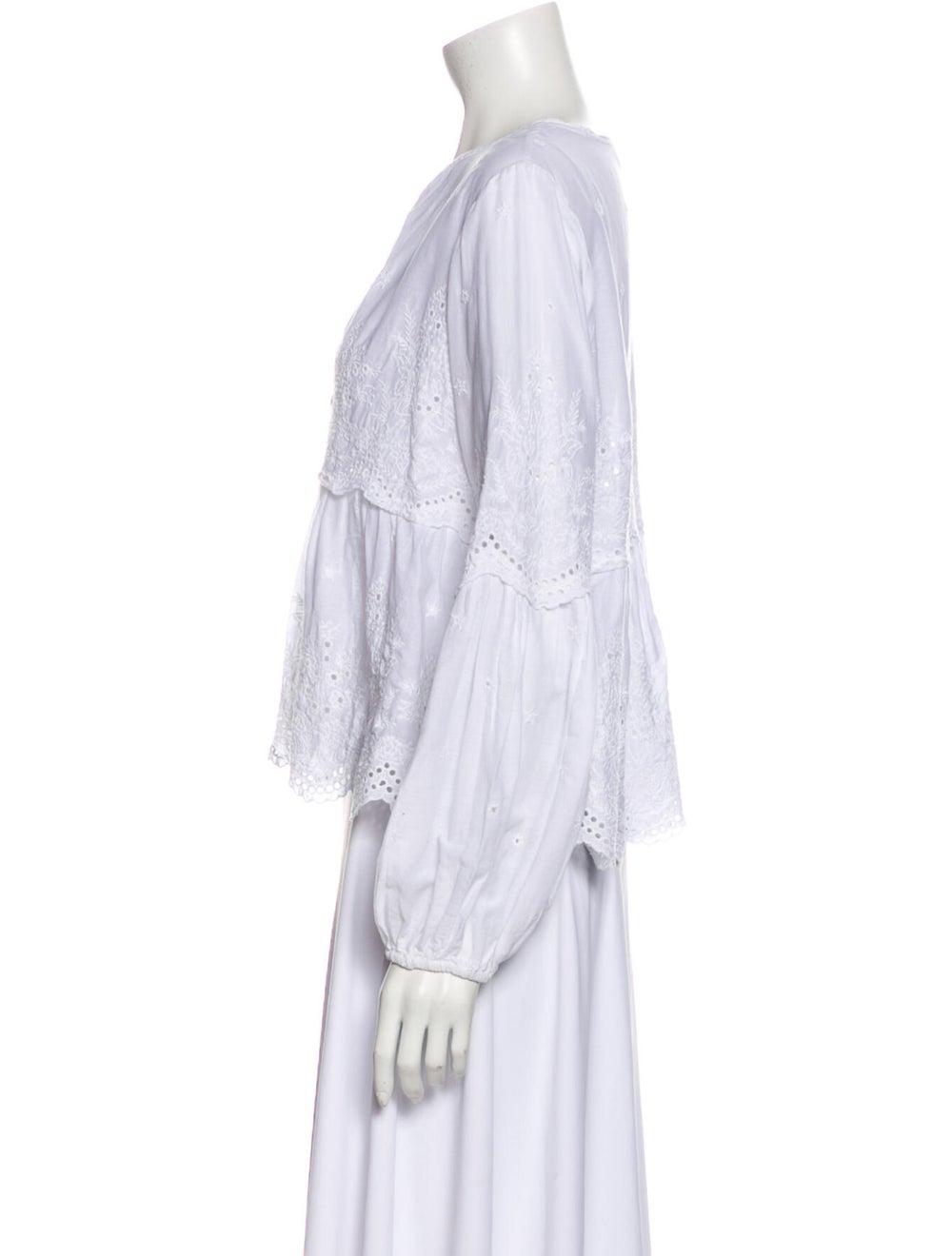 Ulla Johnson Lace Pattern V-Neck Blouse White - image 2
