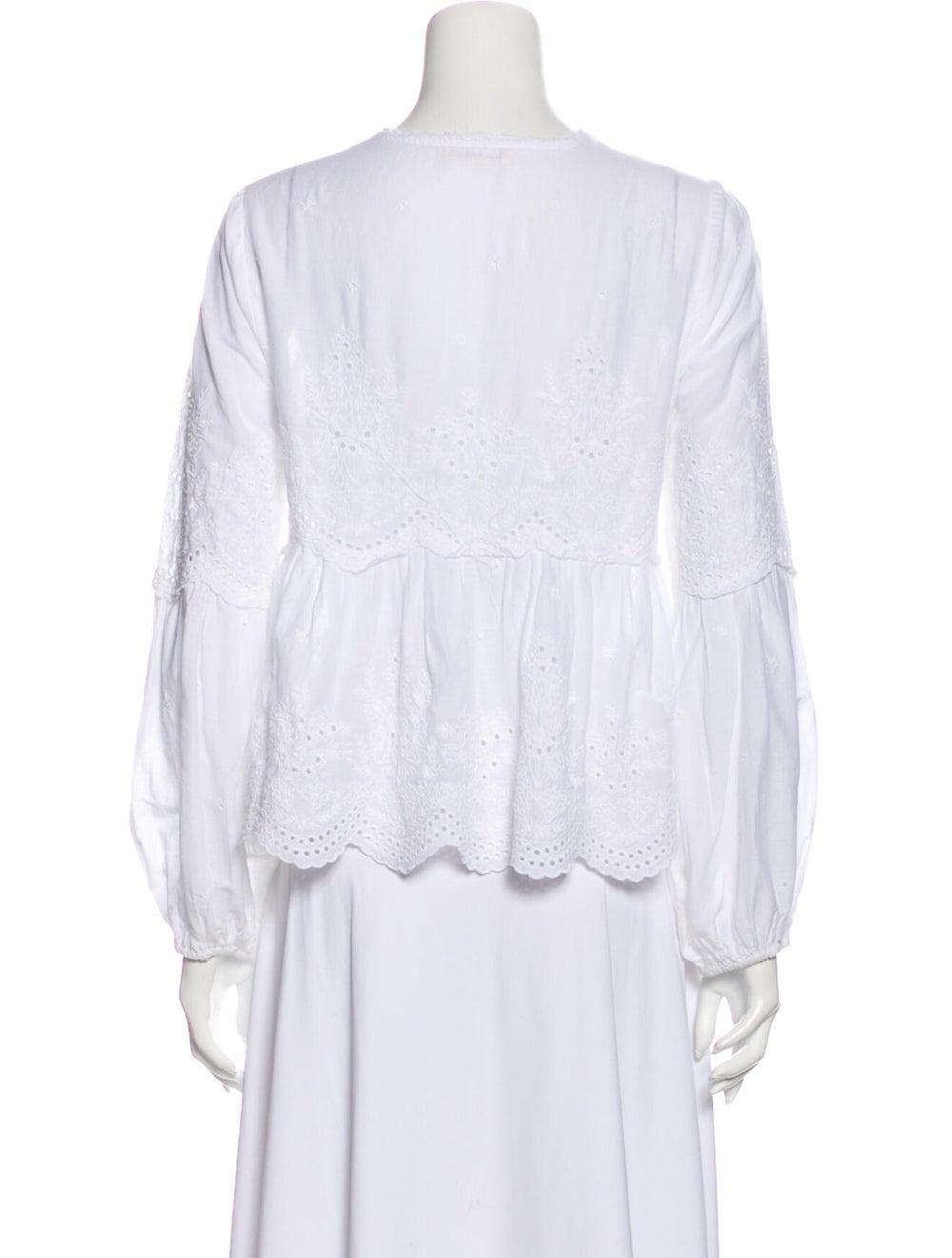 Ulla Johnson Lace Pattern V-Neck Blouse White - image 3