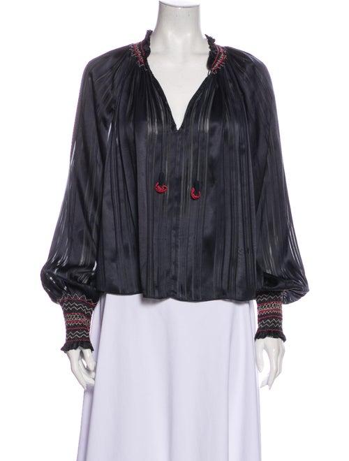 Ulla Johnson Silk Striped Blouse Grey