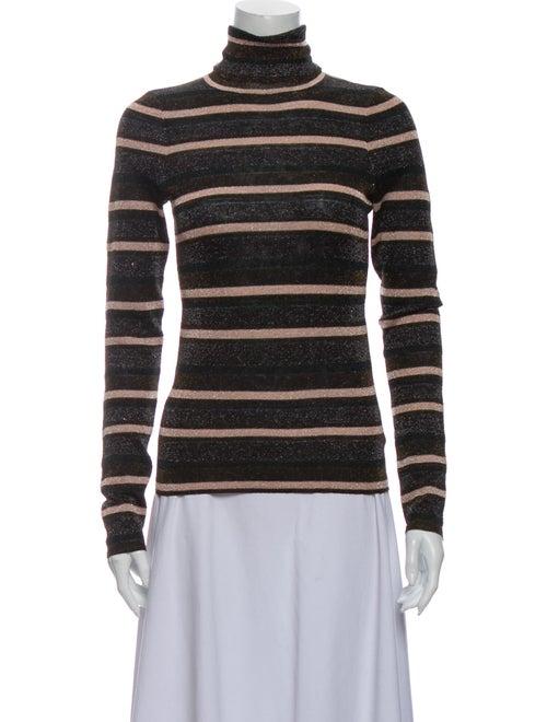 Ulla Johnson Striped Turtleneck Sweater Brown