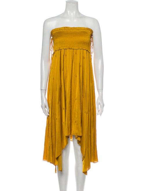 Ulla Johnson Strapless Knee-Length Dress Yellow