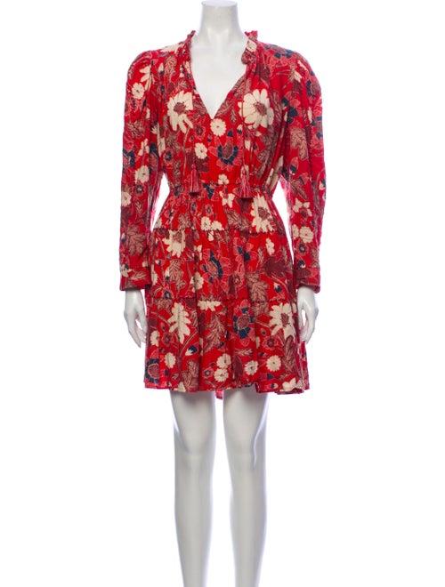Ulla Johnson Floral Print Mini Dress Red