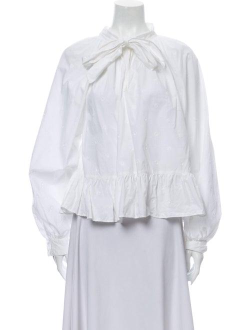 Ulla Johnson Tie Neck Long Sleeve Blouse White