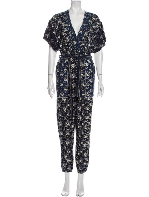 Ulla Johnson Floral Print V-Neck Jumpsuit Blue