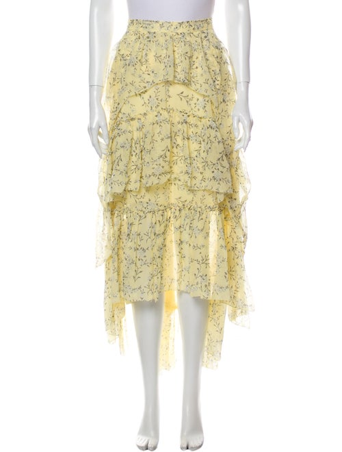 Ulla Johnson Silk Midi Length Skirt Yellow