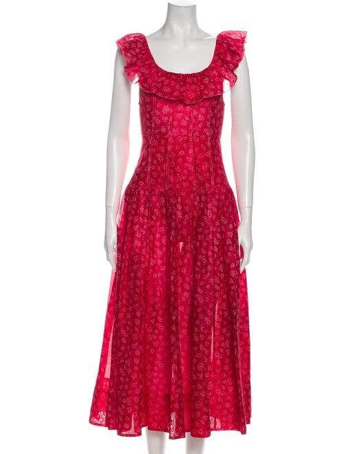 Ulla Johnson Printed Long Dress Red
