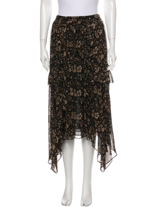Ulla Johnson Silk Midi Length Skirt Brown