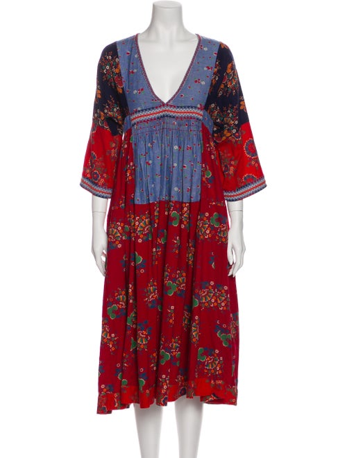 Ulla Johnson Floral Print Midi Length Dress Red