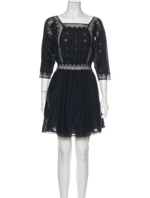 Ulla Johnson Square Neckline Mini Dress Black
