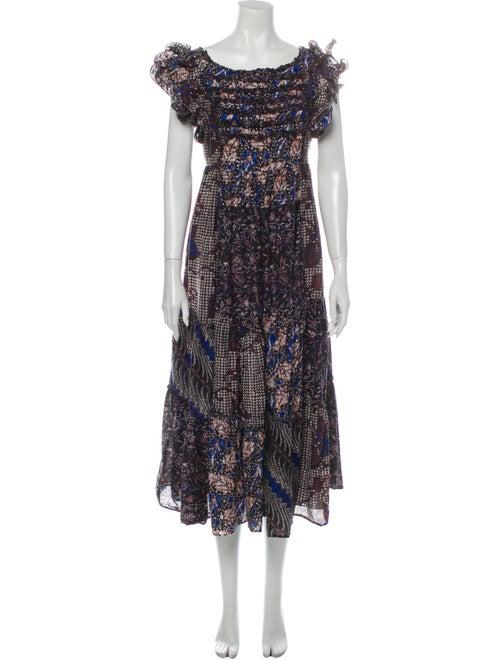 Ulla Johnson Floral Print Long Dress Black
