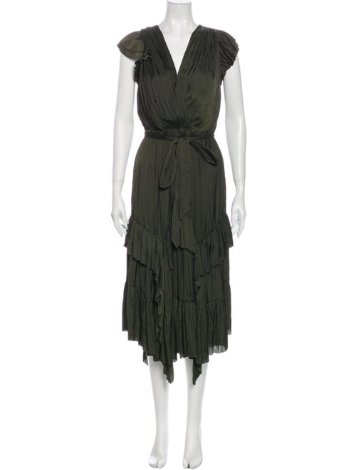 Ulla Johnson V-Neck Long Dress Green