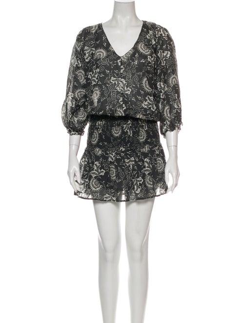 Ulla Johnson Floral Print Mini Dress Grey