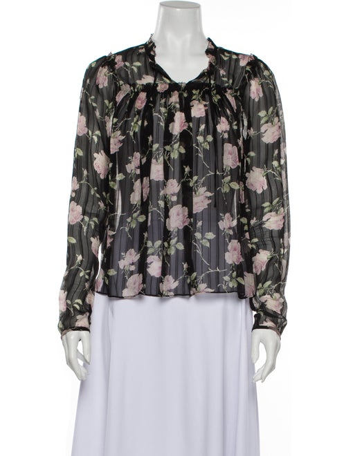 Ulla Johnson Silk Floral Print Blouse Black