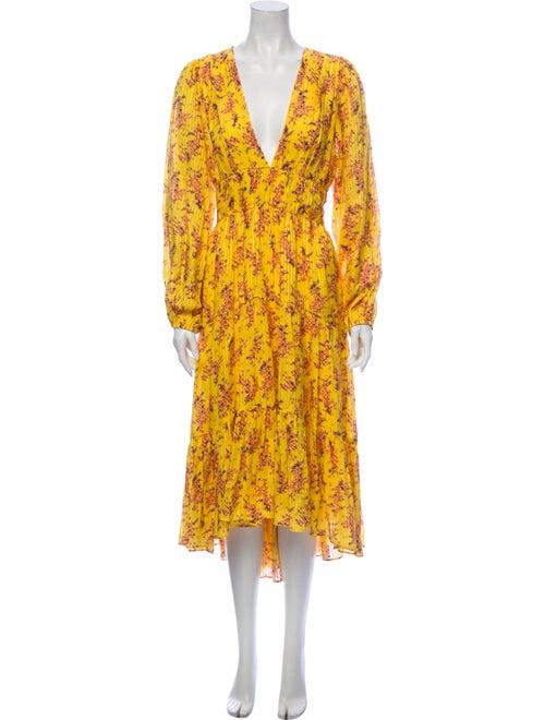 Ulla Johnson Floral Print Long Dress Yellow