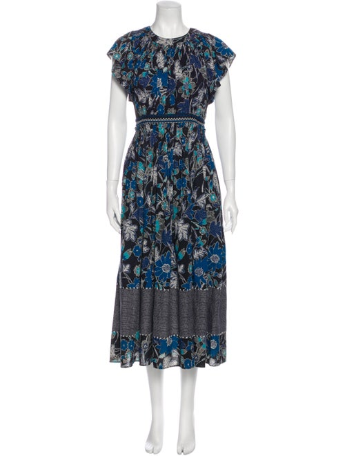 Ulla Johnson Floral Print Long Dress Blue