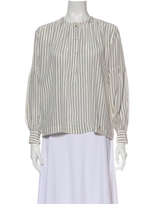 Ulla Johnson Silk Striped Blouse White