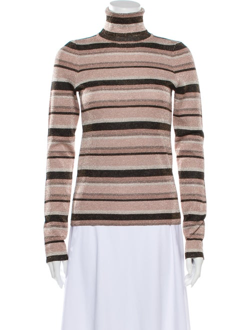 Ulla Johnson Striped Turtleneck Sweater Pink