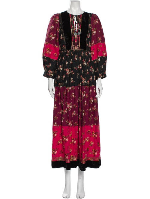Ulla Johnson Floral Print Long Dress Red