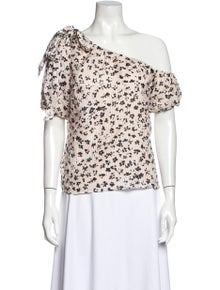 Ulla Johnson Printed One-Shoulder Blouse w/ Tags