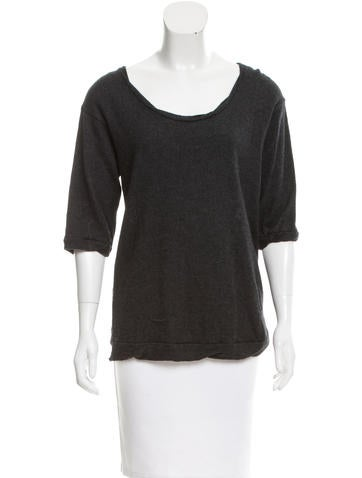 Unconditional Sheer-Paneled Wool Top None