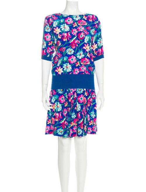 Ungaro Paris Floral Print Skirt Set Blue